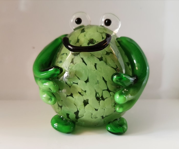 Glasfrø, rund grøn, ø7 cm