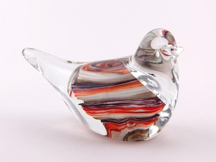 Glasfugl, 9 cm, Stribet