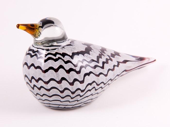 Glasfugl, sortstribet, stor, 24 cm
