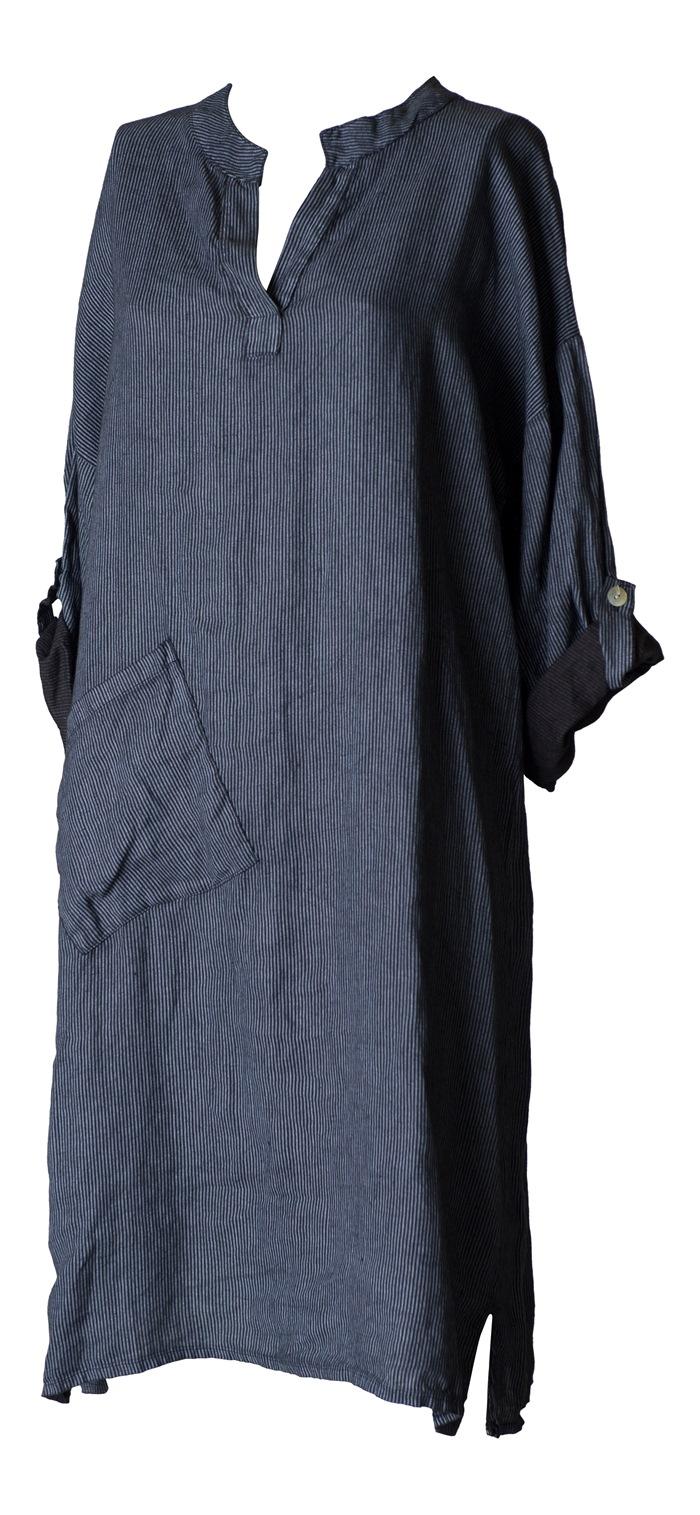 Hørkjole, m/lomme, Stribet sort Str. S