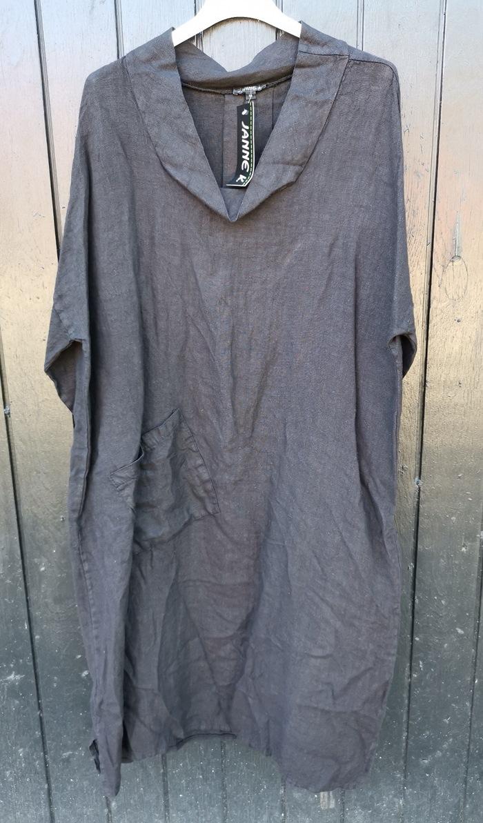 Hørkjole, m/lomme og rund hals, sort, Str. XL