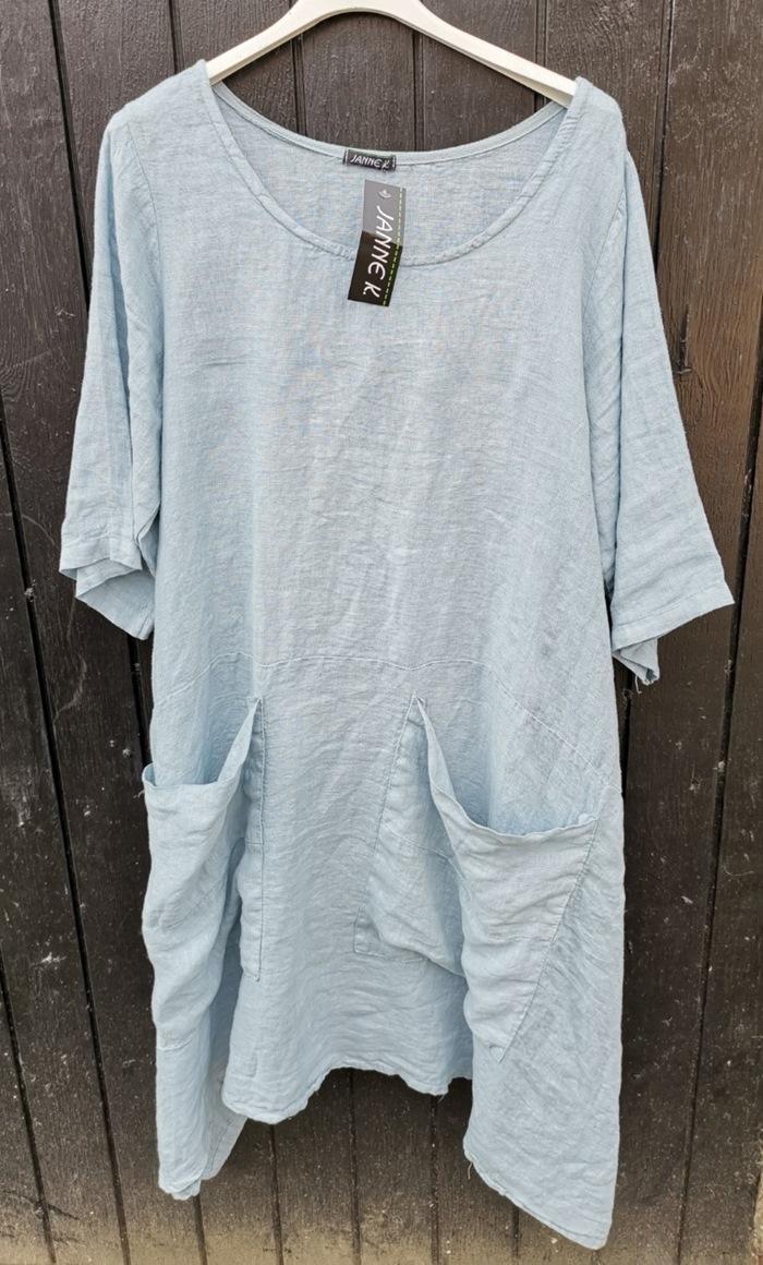 Hørkjole, m/store lommer, Blå/grå, one size