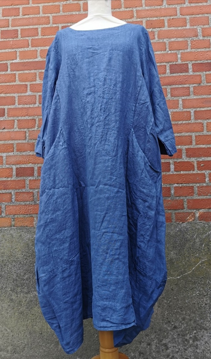 Kjole, Hør, lang, Mørkeblå