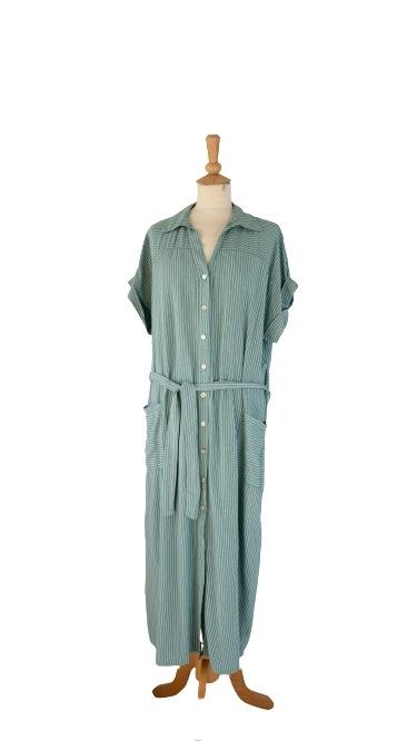 Kjole, Viscose, Gennemknappet m/striber, Mint grøn