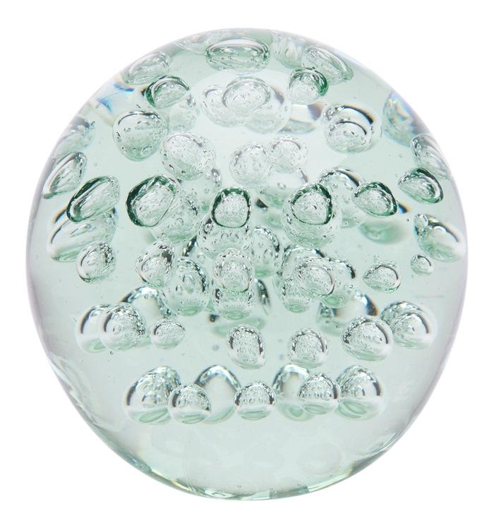 Klar glaskugle, m/bobler, L Ø19,5cm