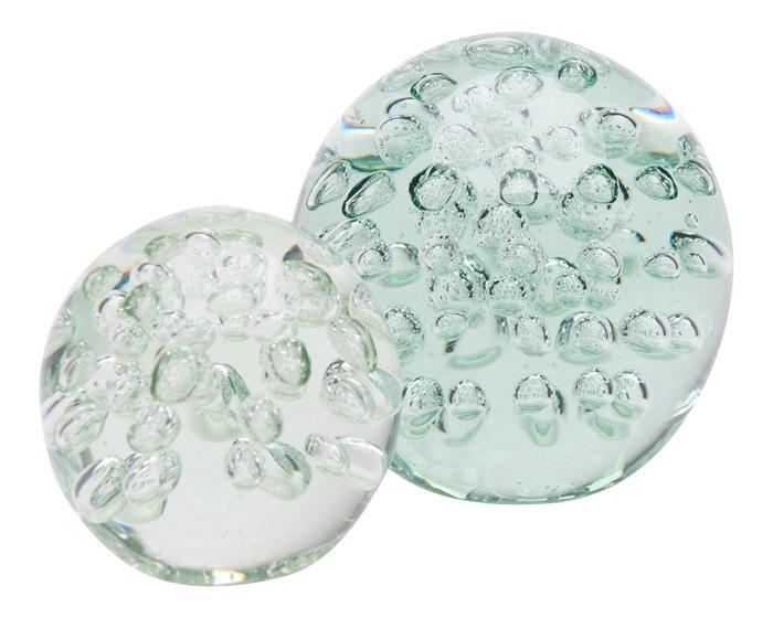 Klar glaskugle, m/bobler, M Ø13,5cm