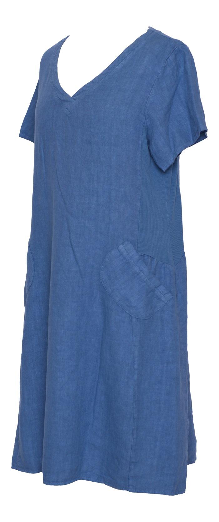 Kort hørkjole, Blå