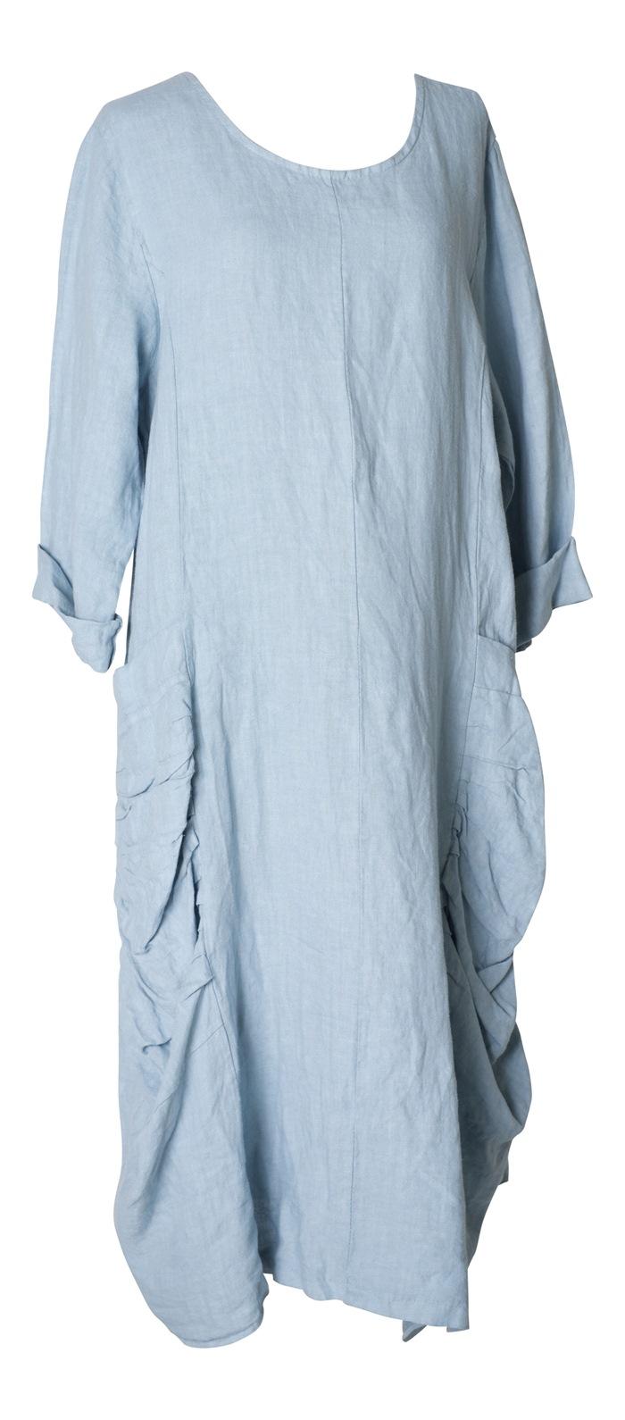 Kraftig hør kjole m/lommer, Lysegrå str. M