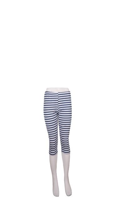 Leggings, Bomuld, Sæt af 3 stk. S/M/L, Stribet Blå/hvid