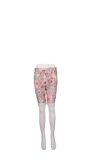 Shorts m/bindebånd, Blomstret Grøn/Rosa