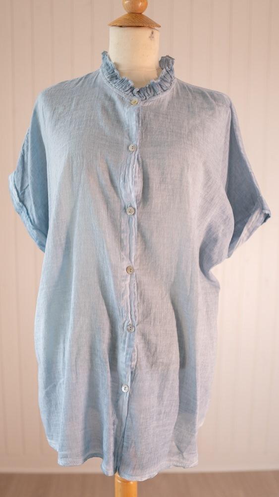 Skjorte, Bomuld, m/blondekrave, Blå