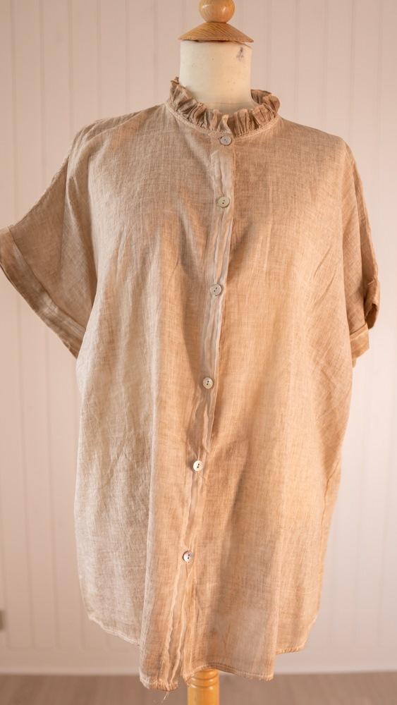 Skjorte, Bomuld, m/blondekrave, Camel