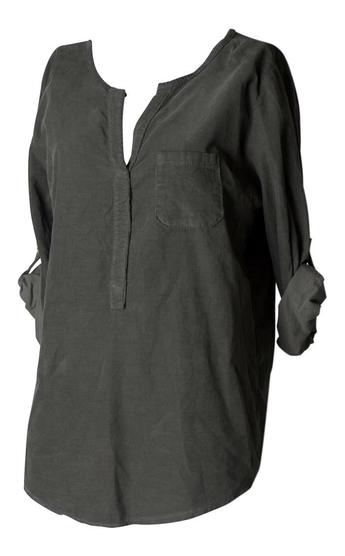 Skjorte, Fløjl, Khaki, Str. L