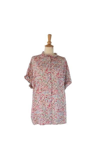 Skjorte, Viscose, m/kort ærme m/blomster, Rød