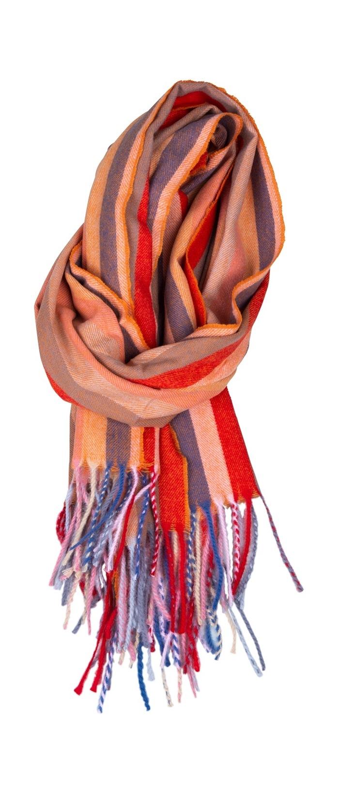 Tørklæde, kraftigt m/Stribe, Orange