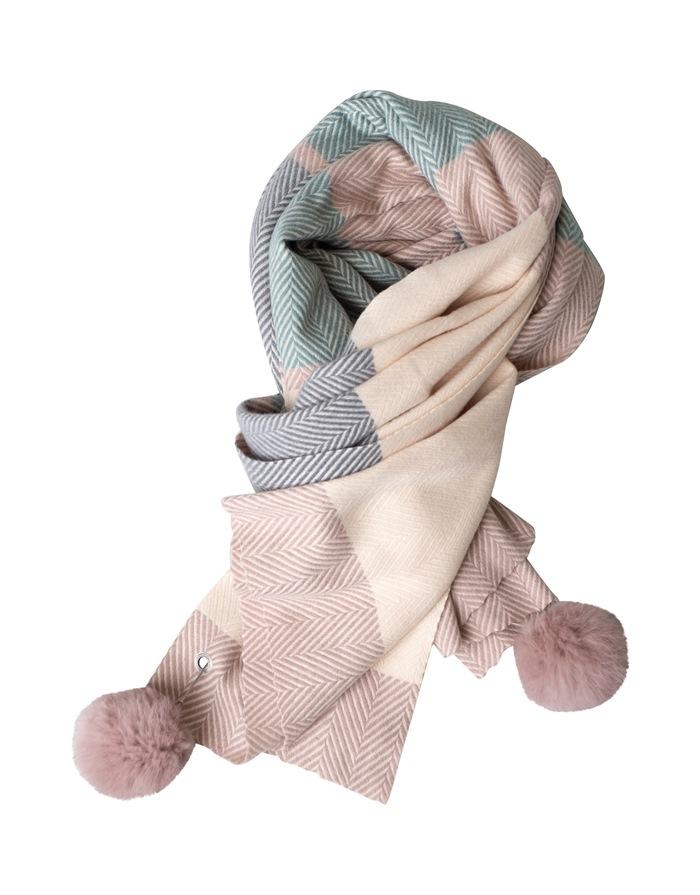 Tørklæde, kraftigt m/pompom, Sildeben, Grå/Grøn/Sand