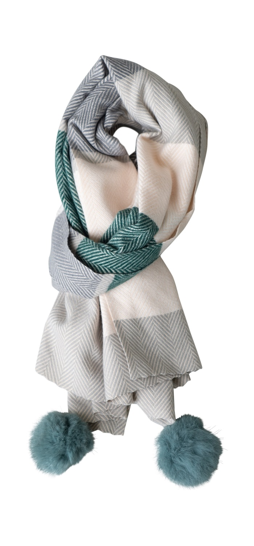 Tørklæde, kraftigt m/pompom, Sildeben, Grøn/Grå/Sand