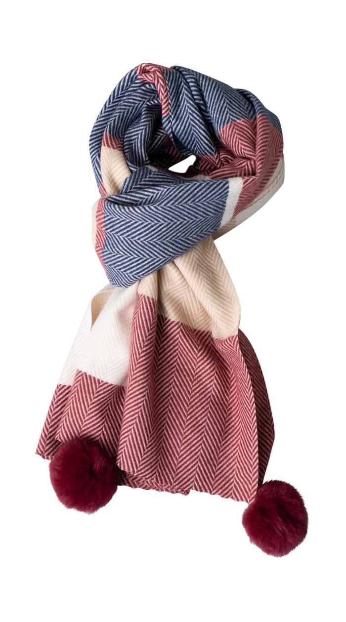 Tørklæde, kraftigt m/pompom, Sildeben, Lys Bordeaux