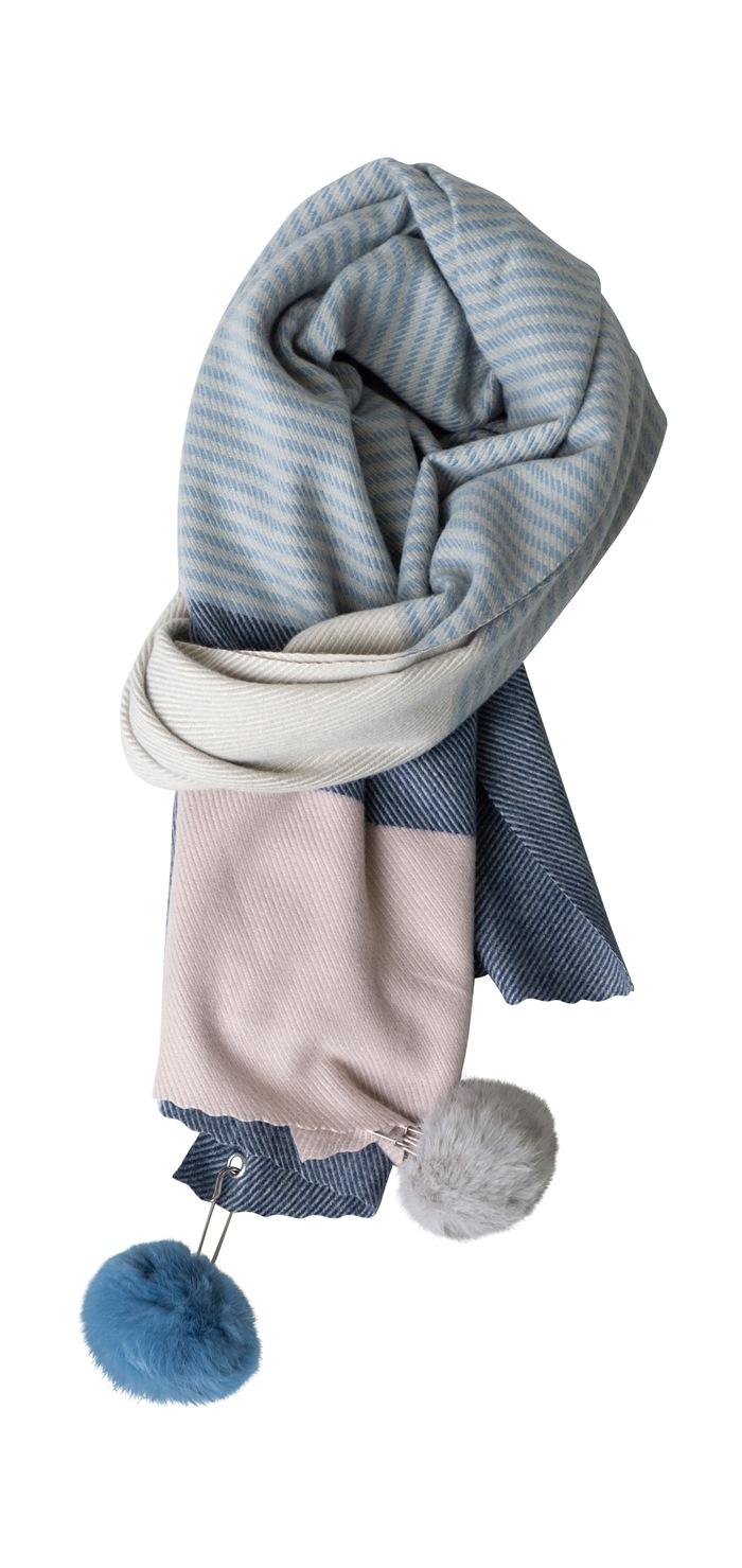 Tørklæde, kraftigt m/pompom, Strib, Blå/Rosa