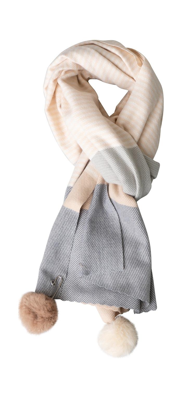 Tørklæde, kraftigt m/pompom, Strib, Grå/Sand