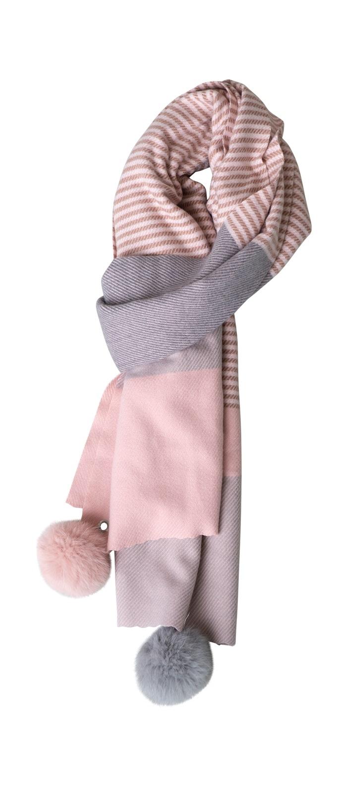 Tørklæde, kraftigt m/pompom, Strib, Rosa