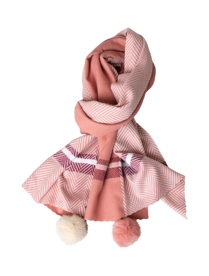 Tørklæde, kraftigt m/pompom, Tern, Mørk Rosa (01022-16)
