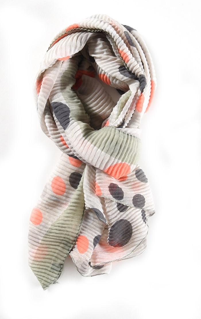 Tørklæde, vaflet m/prikker, Lys grøn (01086-7)