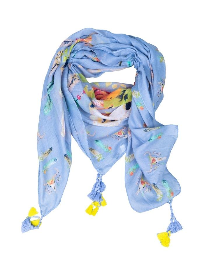Tørklæde, viscose m/Pompom, lyseblå
