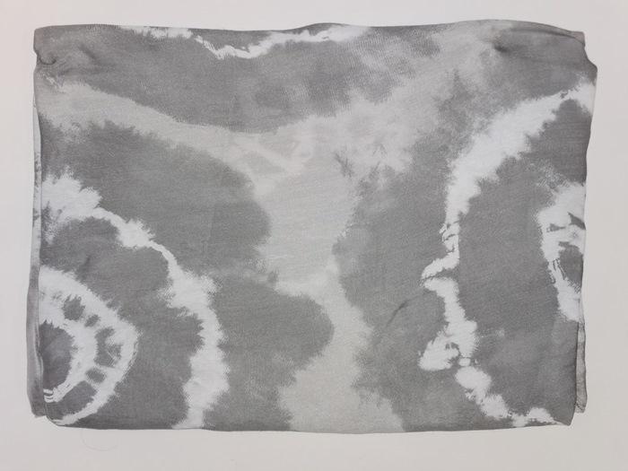 Tørklæde silke/bomuld, Batik, Lysegrå (-22)