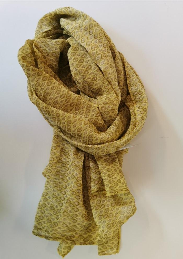 Tørklæde silke/bomuld, Bladmønster, Gul