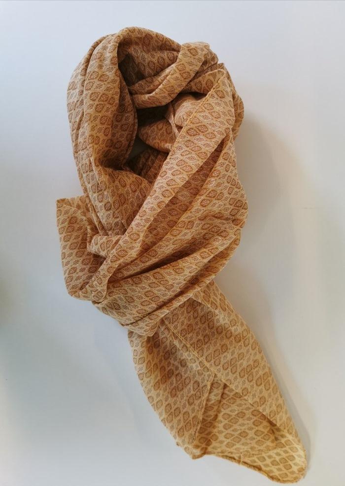 Tørklæde silke/bomuld, Bladmønster, Orange