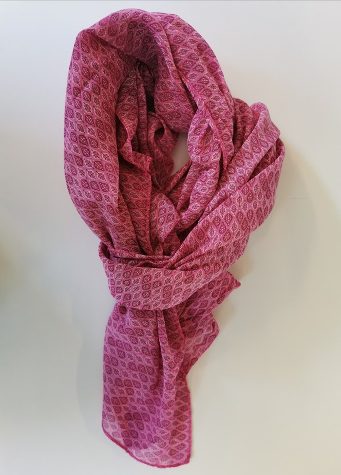 Tørklæde silke/bomuld, Bladmønster, Pink (-63)