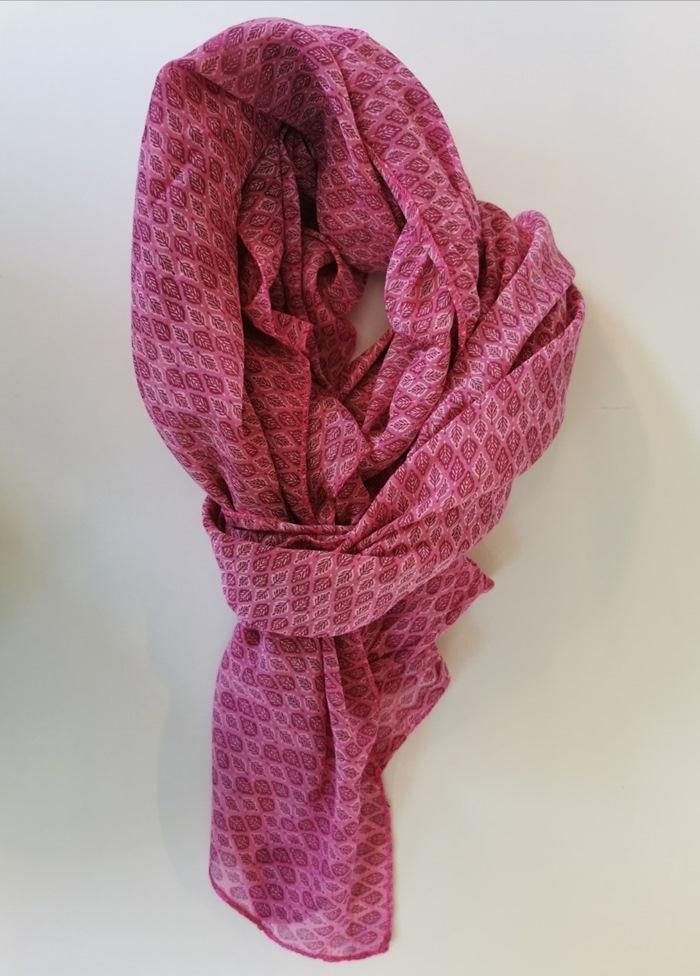 Tørklæde silke/bomuld, Bladmønster, Pink
