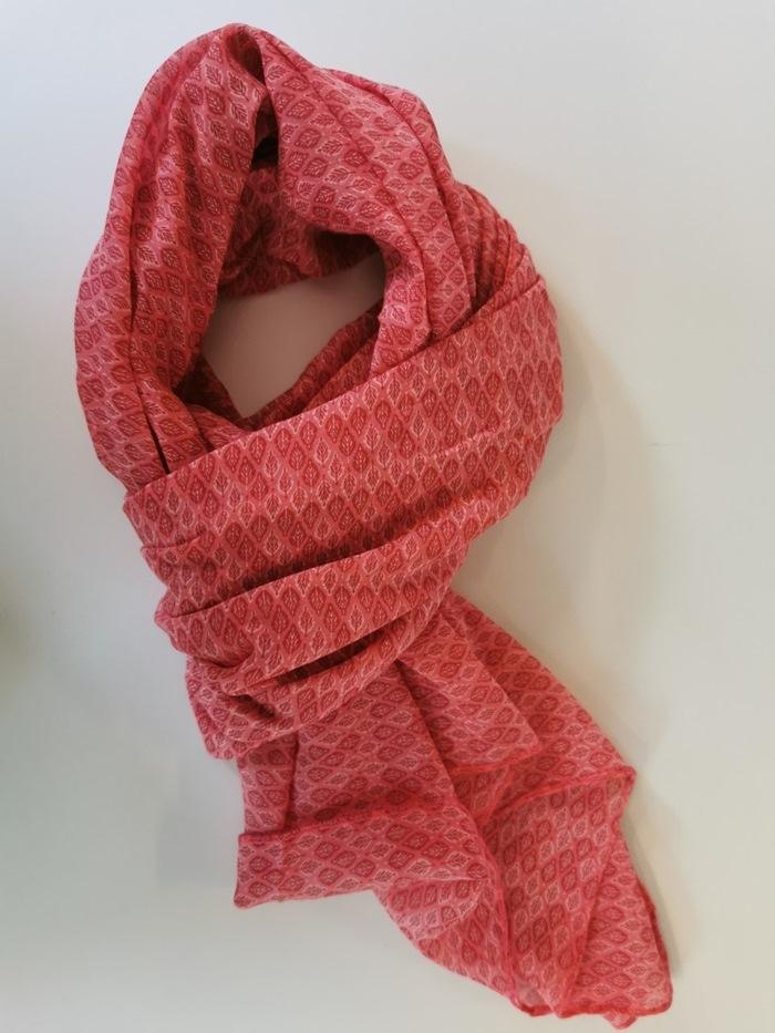 Tørklæde silke/bomuld, Bladmønster, Rød