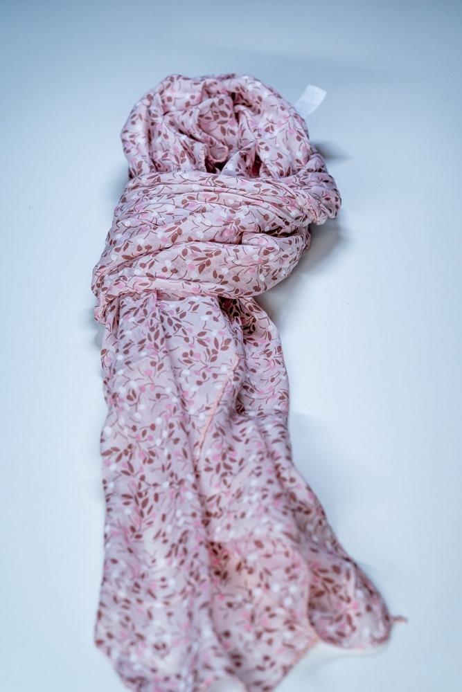 Tørklæde silke/bomuld, Blomst, Rosa