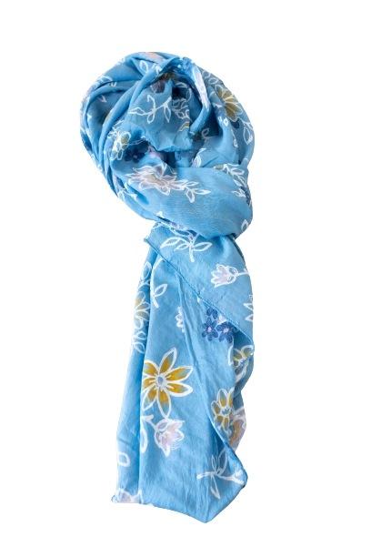 Tørklæde silke/bomuld, Blomstret, Blå (-4)