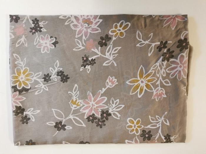 Tørklæde silke/bomuld, Blomstret, Brun (-2)
