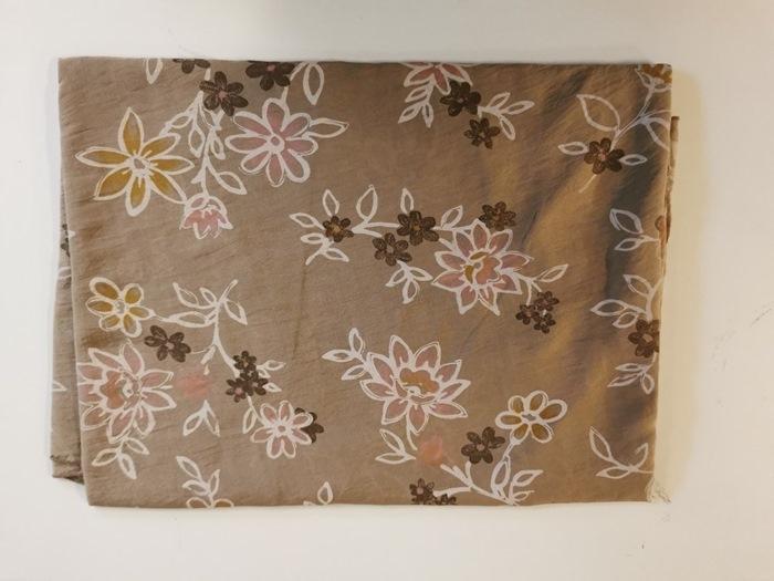 Tørklæde silke/bomuld, Blomstret, Lys brun (-1)