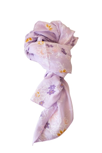 Tørklæde silke/bomuld, Blomstret, Lyserød (-3)
