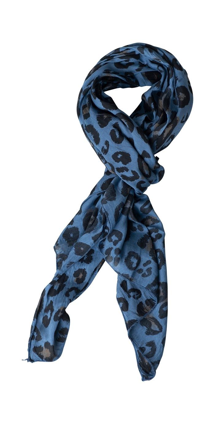 Tørklæde silke/bomuld, Camouflage, Blå