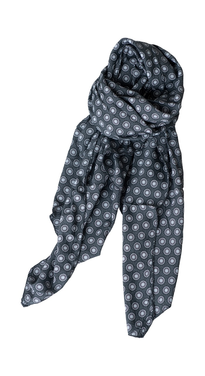 Tørklæde silke/bomuld, Cirkelmønster, Grå
