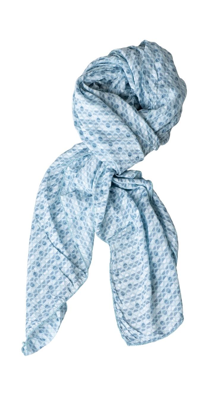Tørklæde silke/bomuld, Cirkler, Turkis (-76)