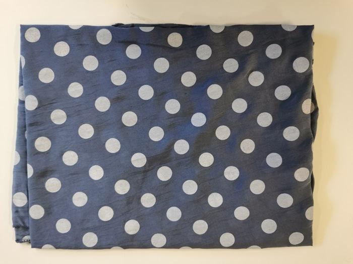 Tørklæde silke/bomuld, Dots, Blå     (-11)
