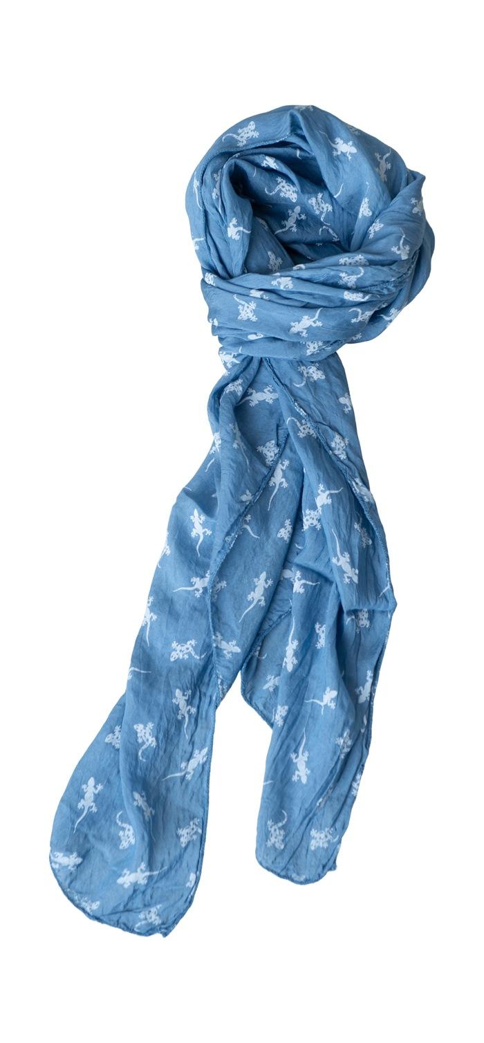 Tørklæde silke/bomuld, Gekko, Blå (-80)