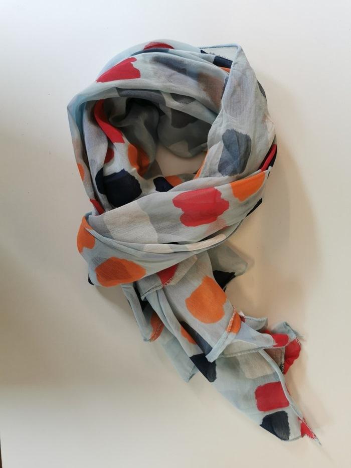 Tørklæde silke/bomuld, Klatter, Lys Blå