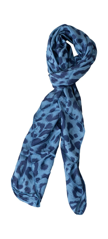 Tørklæde silke/bomuld, Malerstrejf, Blå (-88)