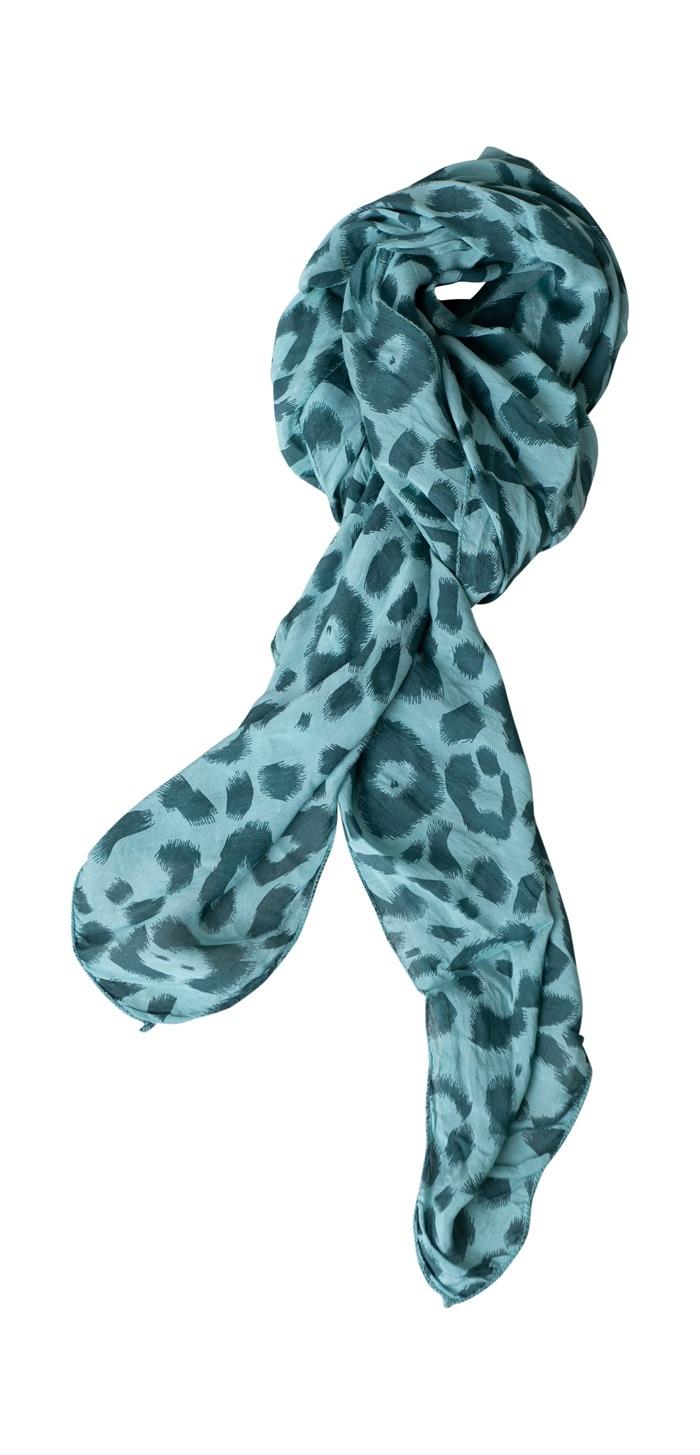Tørklæde silke/bomuld, Malerstrejf, Grøn