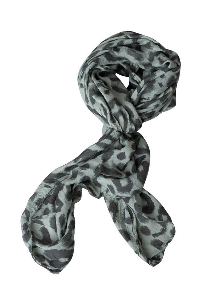 Tørklæde silke/bomuld, Malerstrejf, Lys army (-87)