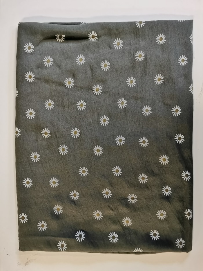 Tørklæde silke/bomuld, Margerit, Army (-17)