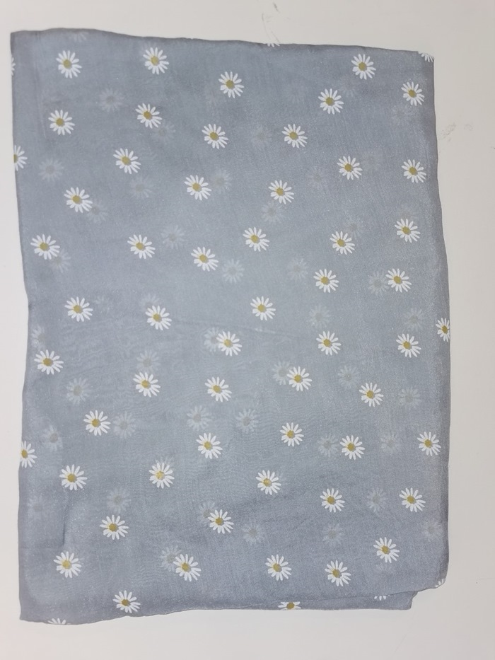 Tørklæde silke/bomuld, Margerit, Lys blå (-20)
